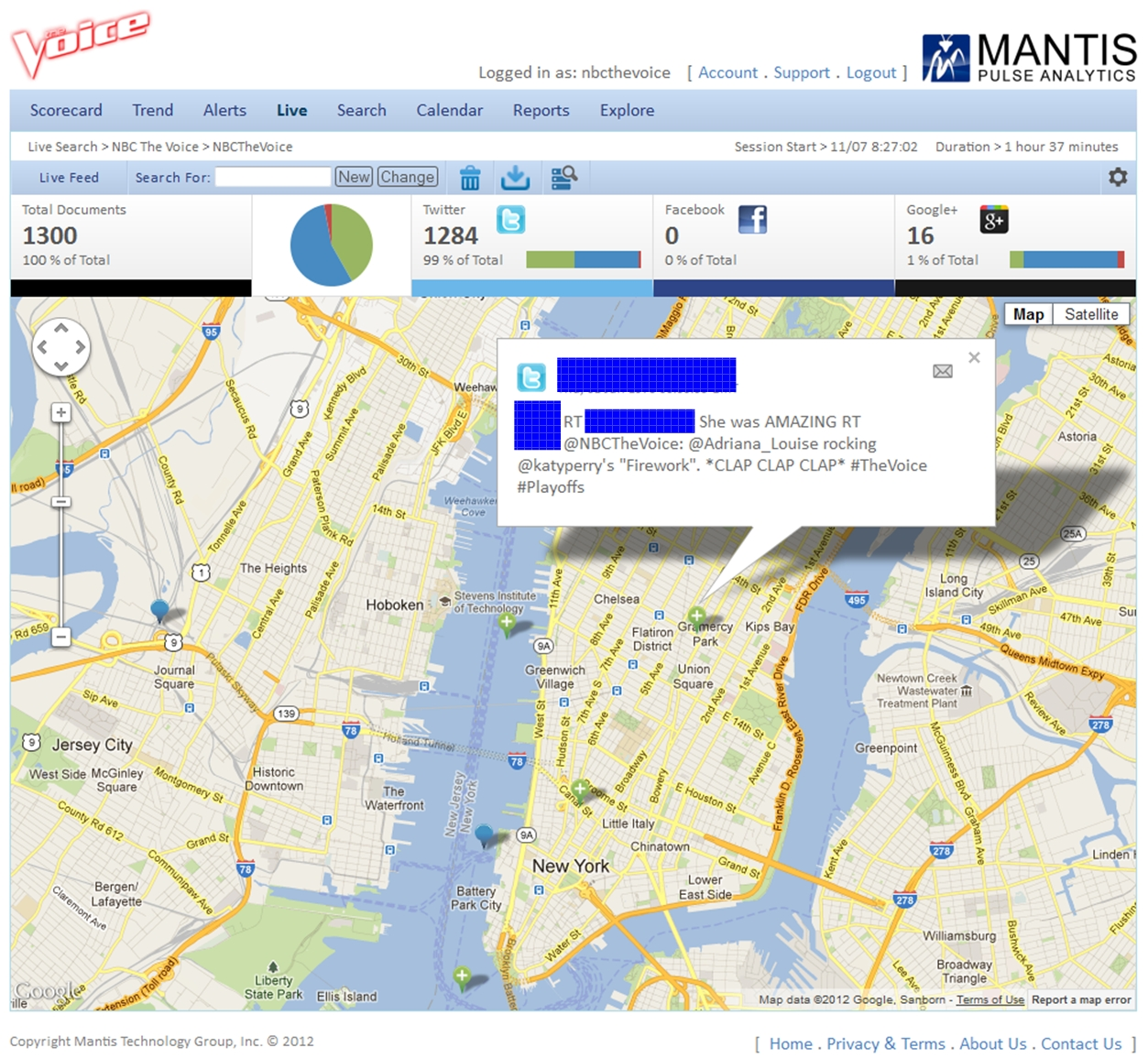Mantis Pulse Analytics Monitoring and Sentiment Analysis for NBC's The Voice - Zoomed In Map View