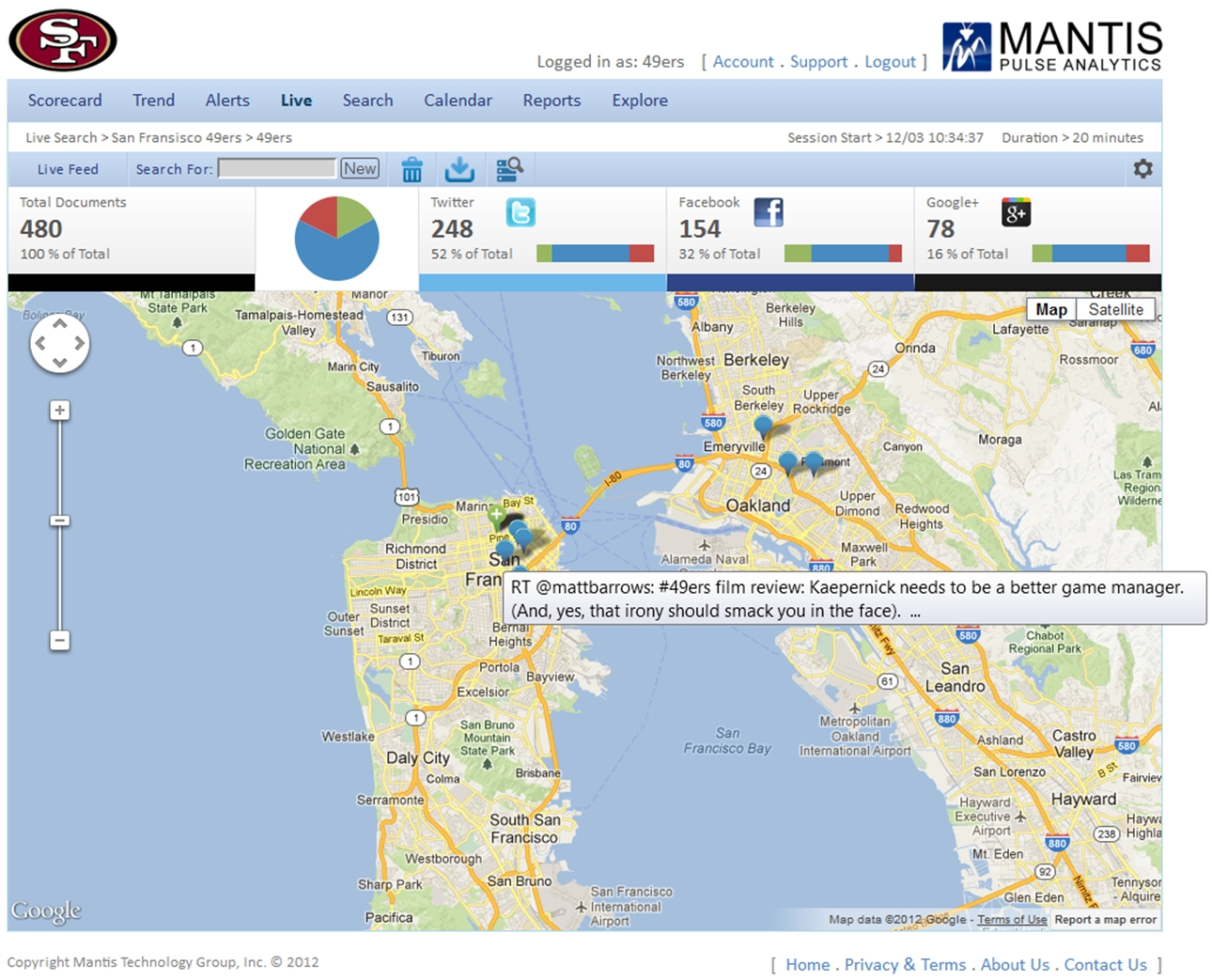 Pulse Analytics Map View while monitoring mentions of the San Francisco 49ers